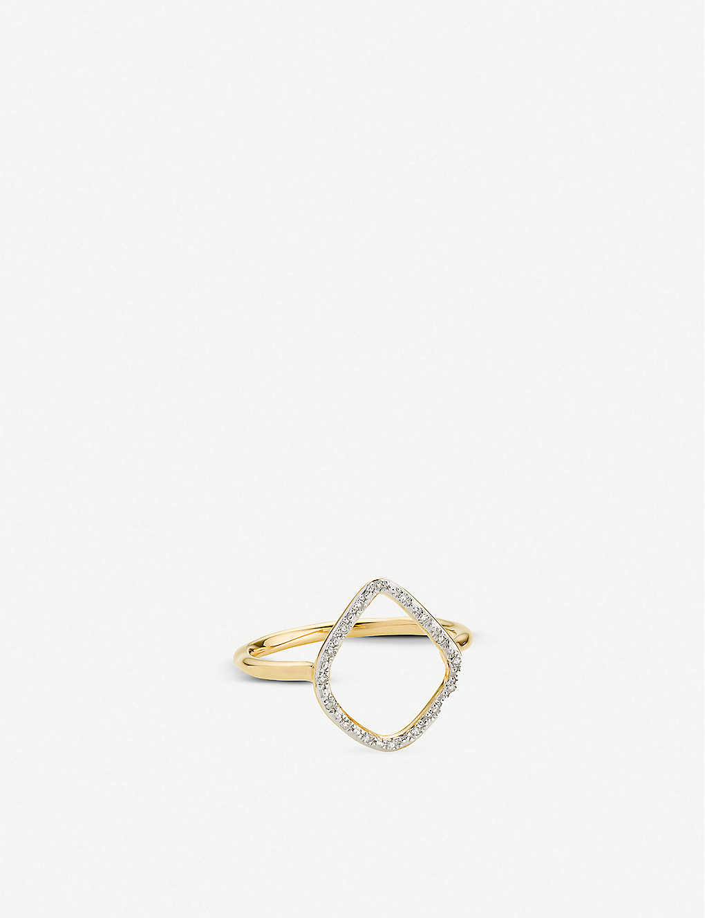 MONICA VINADER: Riva hoop 18ct yellow gold-plated vermeil sterling silver and diamond ring