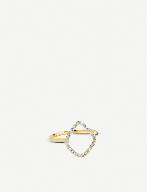 MONICA VINADER Riva hoop 18ct yellow-gold vermeil and diamond ring