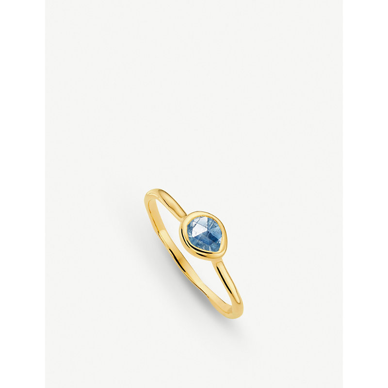 MONICA VINADER | Siren 18ct Gold Vermeil And Kyanite Small Stacking Ring | Goxip