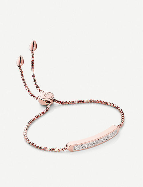 MONICA VINADER: Baja Skinny diamond and 18ct rose-gold vermeil sterling silver bracelet