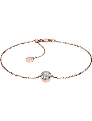 MONICA VINADER Fiji Button diamond and 18ct rose gold-plated vermeil bracelet