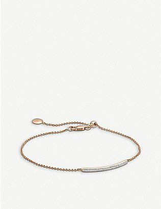 MONICA VINADER: Skinny 18ct rose gold-plated and diamond bracelet