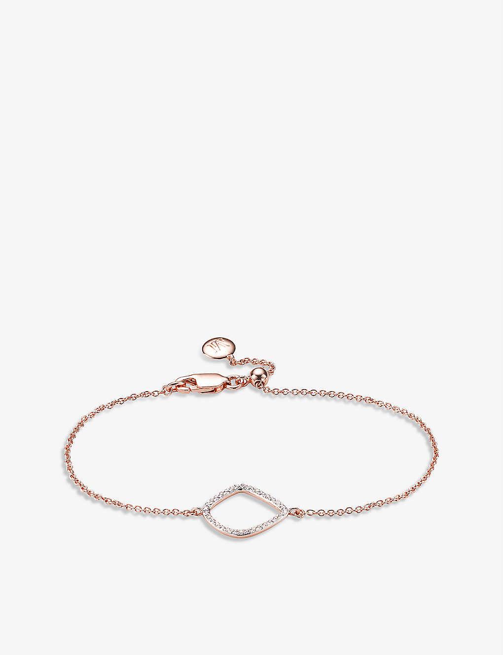 170233d9370089 MONICA VINADER Riva kite chain 18ct rose-gold vermeil pavé diamond bracelet