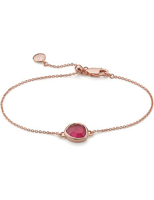 MONICA VINADER Siren rose-gold vermeil and pink quartz fine chain bracelet