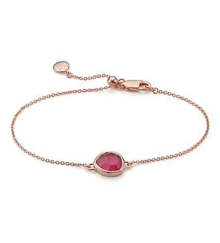 MONICA VINADER Siren Rose-Gold Vermeil And Pink Quartz Fine Chain Bracelet in Harrods
