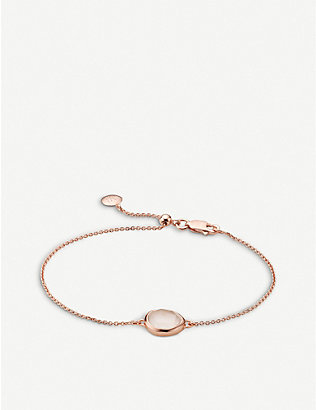 MONICA VINADER: Siren rose gold-plated vermeil and rose quartz bracelet