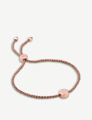 MONICA VINADER Linear Solo 18ct rose-gold vermeil and diamond friendship bracelet