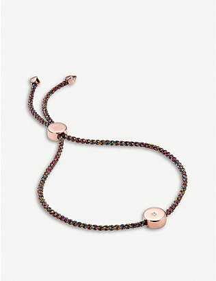 MONICA VINADER: Linear Solo 18ct rose-gold vermeil and diamond friendship bracelet