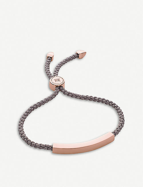 MONICA VINADER: Linear 18ct rose gold-plated woven friendship bracelet