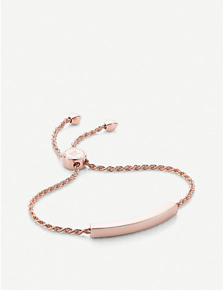 MONICA VINADER: Linear 18ct rose gold-plated and pavé diamond bracelet