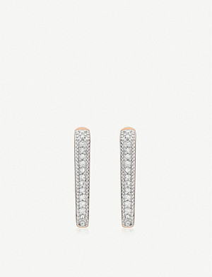 MONICA VINADER Alta Capture Huggie 18ct rose gold-vermeil and diamond earrings