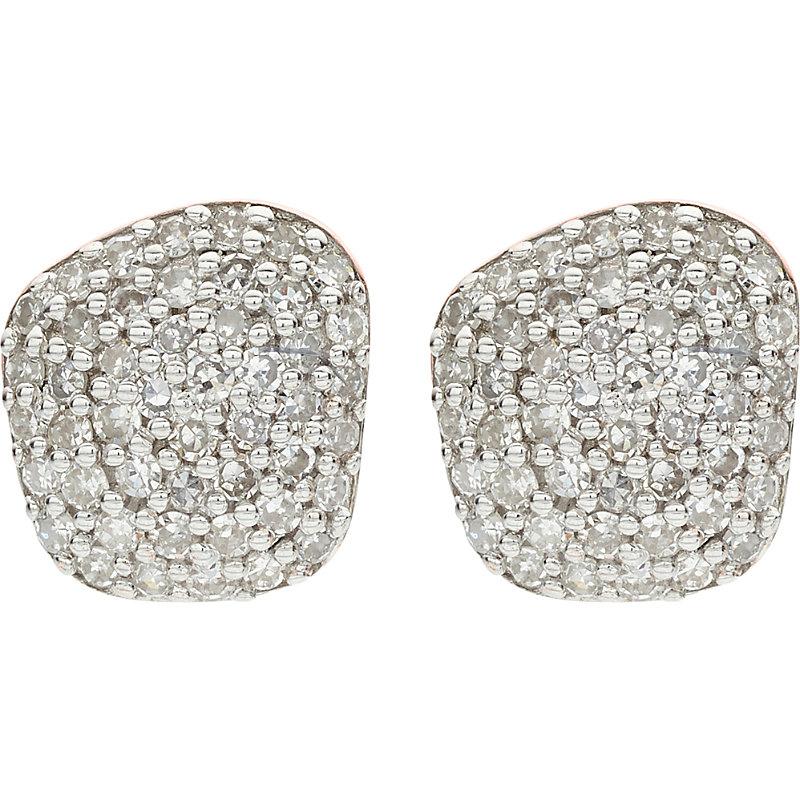 MONICA VINADER | Monica Vinader Nura Nugget 18ct Rose-Gold Vermeil And Diamond Earrings | Goxip