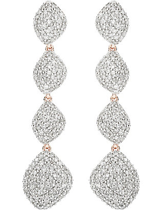 MONICA VINADER: Nura Teardrop 18ct rose-gold vermeil and diamond earrings
