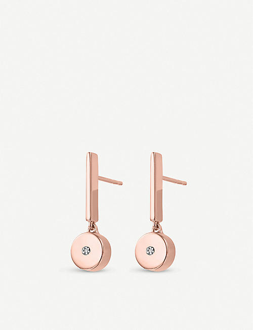 MONICA VINADER Linear Solo 18ct rose-gold vermeil and diamond drop earrings