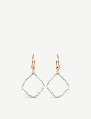 MONICA VINADER Riva Hoop 18ct rose-gold vermeil and pavé diamonds earrings