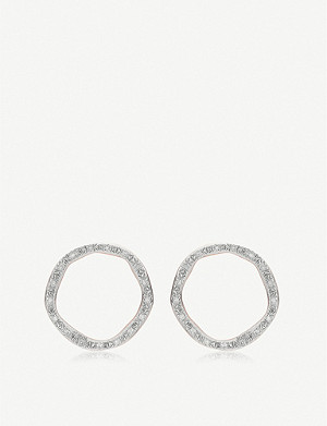 MONICA VINADER Riva Diamond Circle Stud 18ct rose-gold vermeil earrings