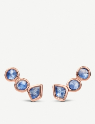 MONICA VINADER Siren 18ct rose-gold vermeil and kyanite climber earrings