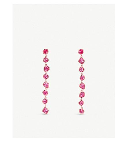 Monica Vinader SIREN 18CT ROSE-GOLD VERMEIL AND PINK QUARTZ NUGGET COCKTAIL EARRINGS