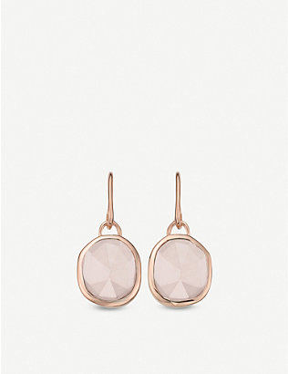 MONICA VINADER: Siren Wire 18ct rose gold vermeil and rose quartz earrings