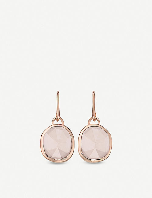 MONICA VINADER Siren Wire 18ct rose gold vermeil and rose quartz earrings