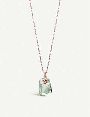 MONICA VINADER Monica Vinader x Caroline Issa 18ct rose gold-vermeil and green amethyst necklace