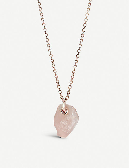 MONICA VINADER: Monica Vinader x Caroline Issa large 18ct rose gold-vermeil and rose quartz necklace