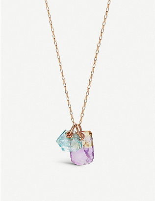 MONICA VINADER: Monica Vinader x Caroline Issa 18ct rose gold-plated vermeil silver, ametrine and aquamarine necklace