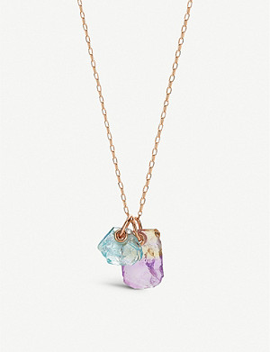 MONICA VINADER Monica Vinader x Caroline Issa 18ct rose gold-vermeil, ametrine and aquamarine necklace