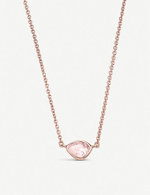 MONICA VINADER: Siren Mini Nugget 18ct rose gold vermeil and rose quartz necklace