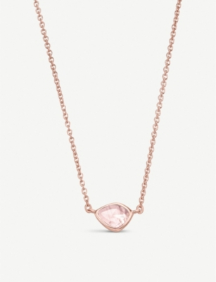 MONICA VINADER Siren Mini Nugget 18ct rose gold vermeil and rose quartz necklace