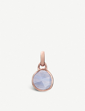 MONICA VINADER Siren mini 18ct rose-gold vermeil and blue lace agate bezel pendant