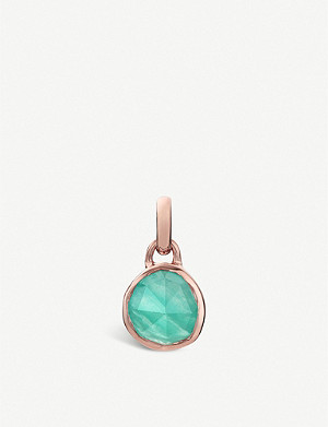 MONICA VINADER Siren mini 18ct rose-gold vermeil and amazonite bezel pendant