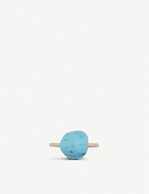 MONICA VINADER Nura 18ct rose-gold and turquoise pebble ring