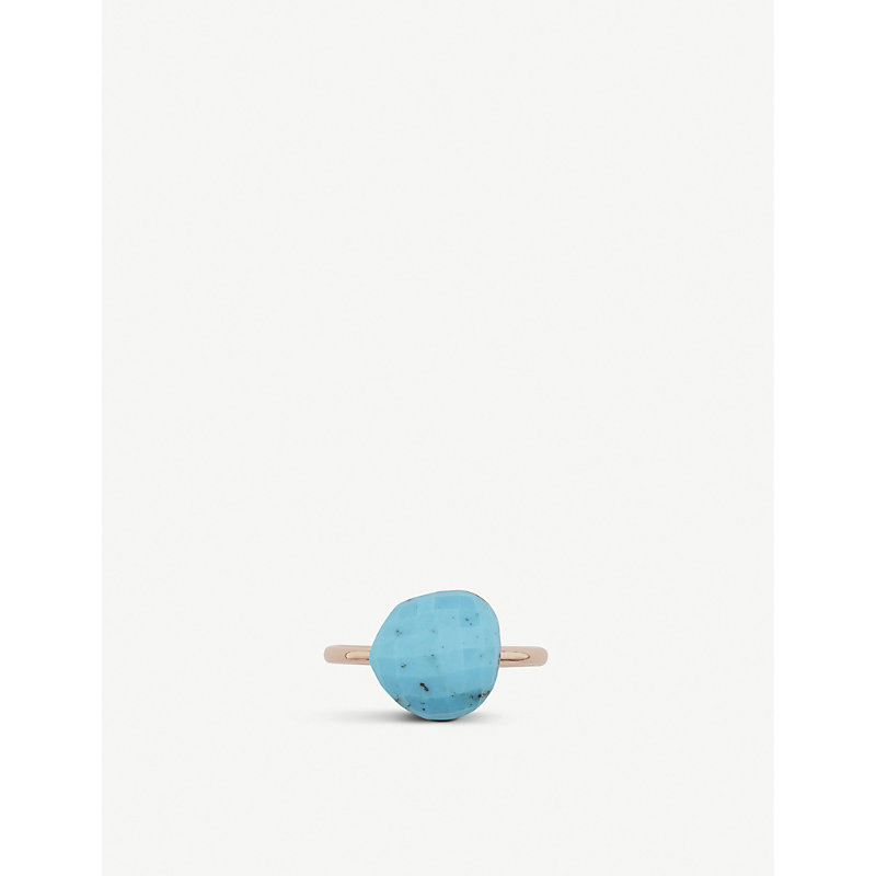 MONICA VINADER | Nura 18ct Rose-Gold And Turquoise Pebble Ring | Goxip