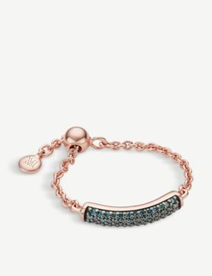 Monica Vinader FIJI 18CT ROSE-GOLD VERMEIL AND BLUE DIAMOND BAR FRIENDSHIP RING