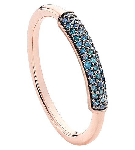 Stellar 18Ct Rose Gold-Plated Vermeil And Blue Diamond Ring