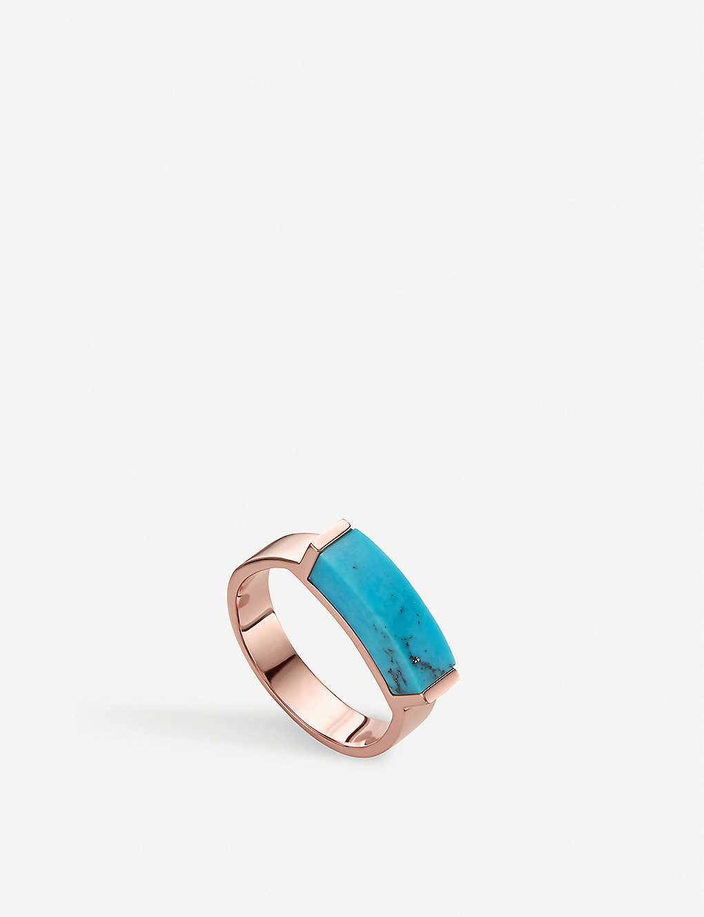 be875defce50e3 MONICA VINADER - Linear 18ct rose-gold vermeil and turquoise ring ...