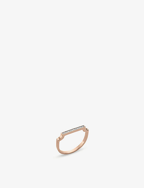 MONICA VINADER Signature 18ct rose gold-plated vermeil silver and diamond thin ring