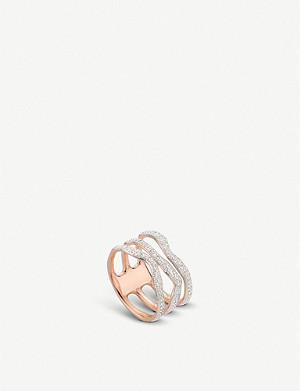 MONICA VINADER Riva Diamond Wave Triple Band 18ct rose gold-plated vermeil silver ring