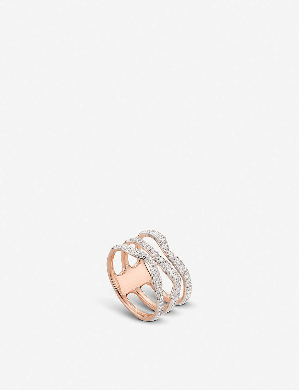 MONICA VINADER: Riva Diamond Wave Triple Band 18ct rose gold-plated vermeil silver ring