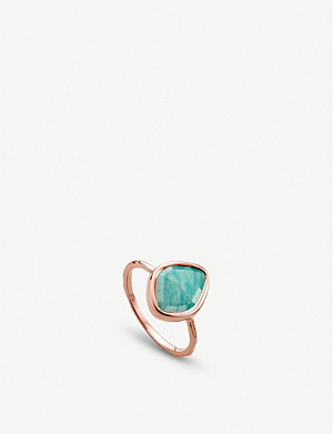 MONICA VINADER Siren 18ct rose gold-plated and amazonite nugget stacking ring