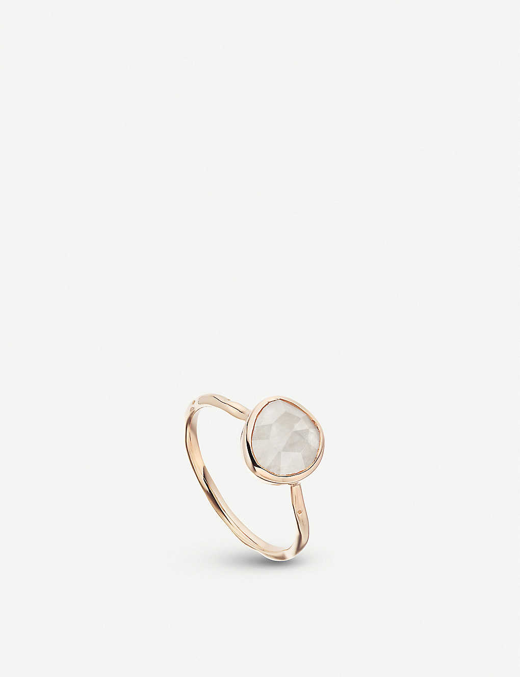 MONICA VINADER: Siren 18ct rose gold-plated vermeil silver and moonstone stacking ring