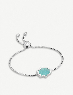 MONICA VINADER Hamsa Hand friendship sterling silver and amazonite bracelet
