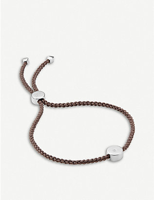 MONICA VINADER: Linear Solo sterling silver and diamond friendship bracelet