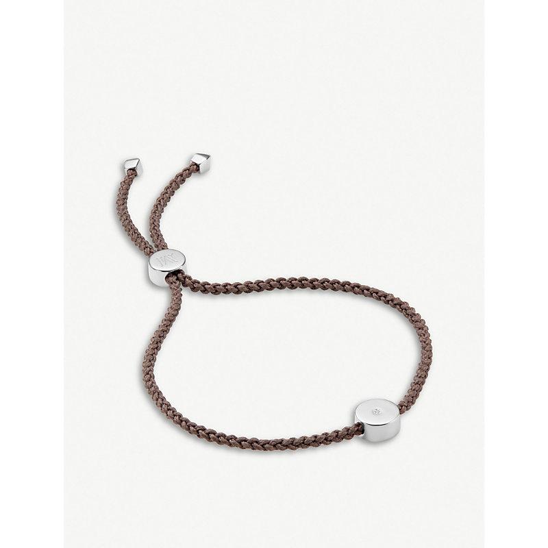 MONICA VINADER | Linear Solo Sterling Silver And Diamond Friendship Bracelet | Goxip