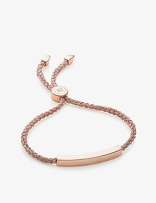 0f3c2ac2a MONICA VINADER Linear 18ct rose gold-plated woven friendship bracelet