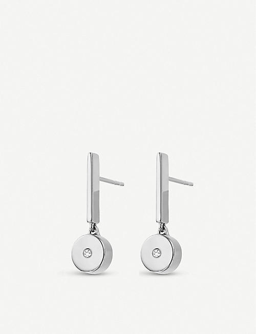 MONICA VINADER Linear Solo sterling silver and diamond drop earrings