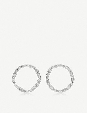 MONICA VINADER Riva Large Circle sterling silver and diamond stud earrings