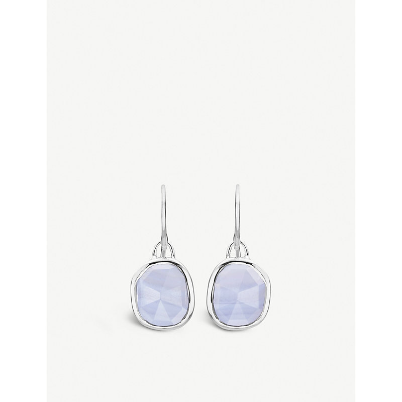 MONICA VINADER | Siren Sterling Silver And Blue Lace Agate Wire Earrings | Goxip