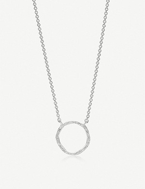 MONICA VINADER Riva Circle sterling silver and diamond necklace